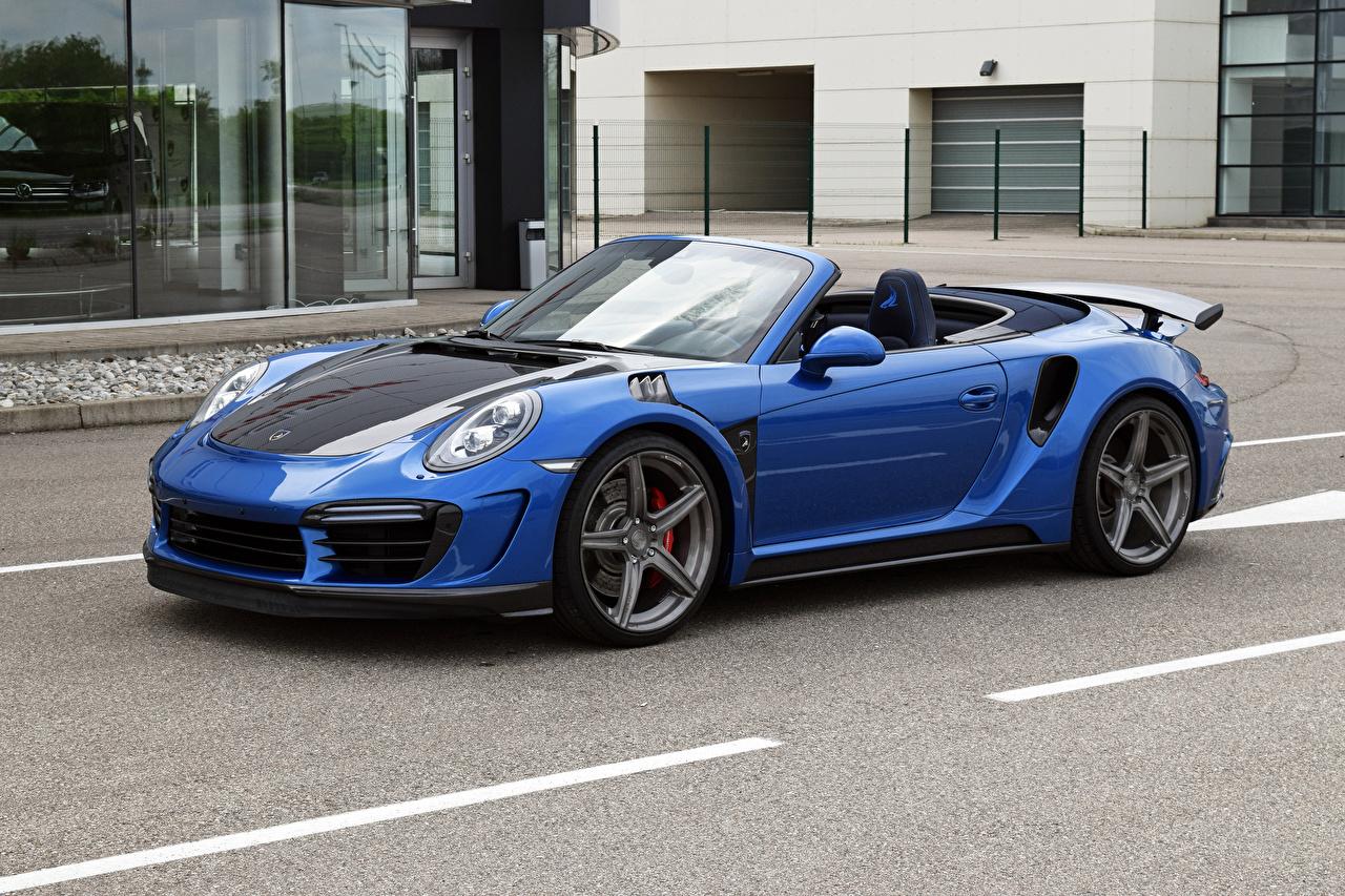 Images Tuning 2017 TopCar Porsche 911 Turbo Stinger GTR Cabriolet Blue auto Metallic Convertible Cars automobile