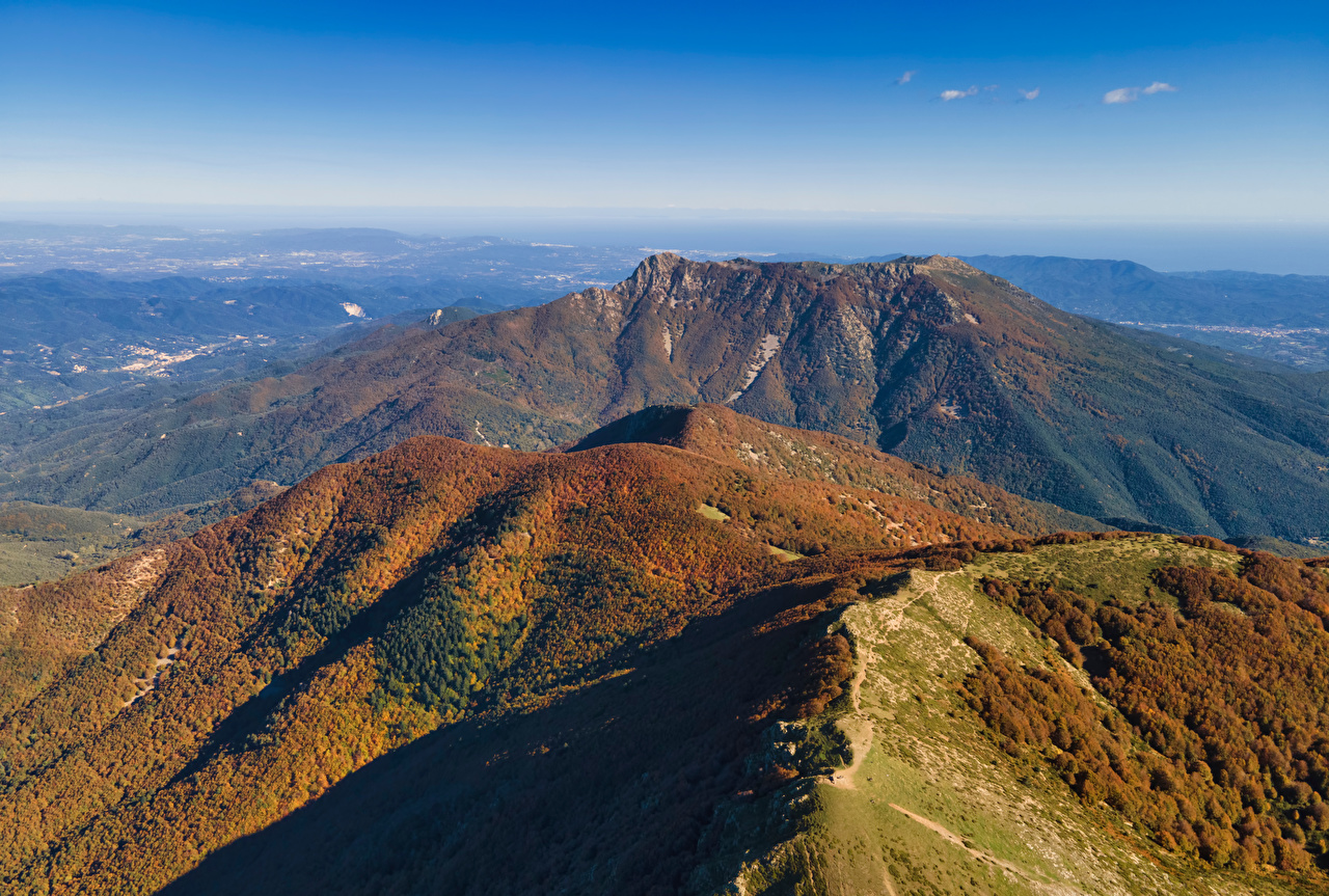 Photo Spain Catalonia Nature Autumn Mountains From above mountain
