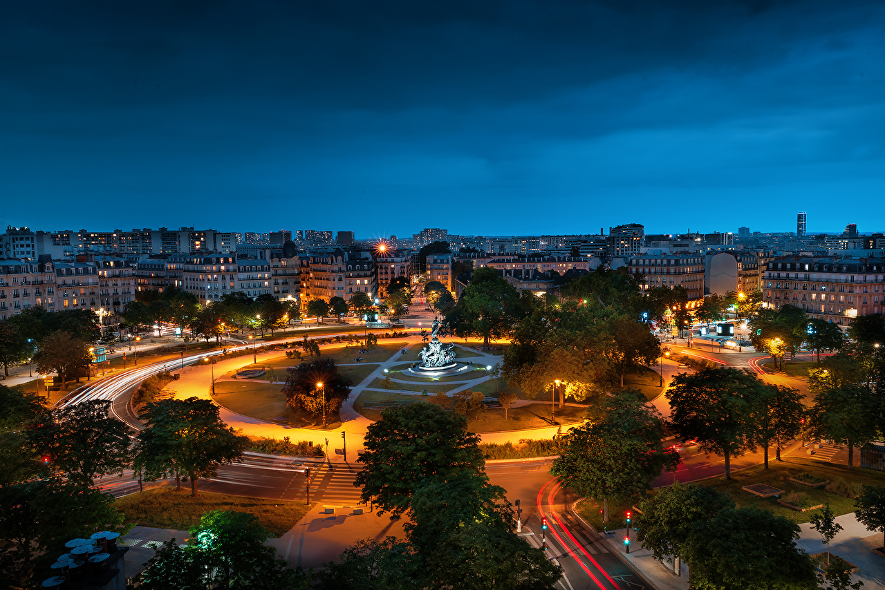 Images Paris France Monuments Town square Place de la Nation night time From above Houses Cities Night Building