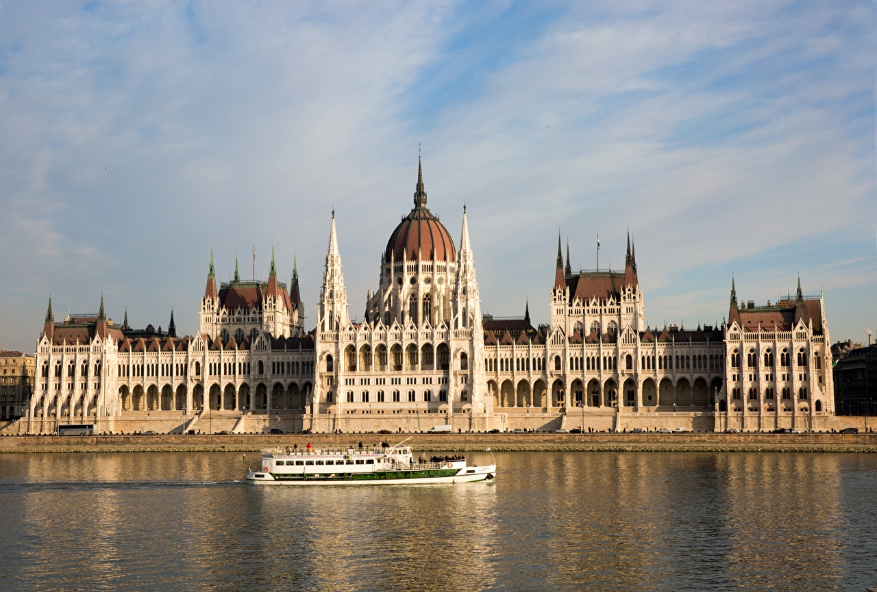 Image Budapest Hungary Danube Riverboat river Cities Rivers