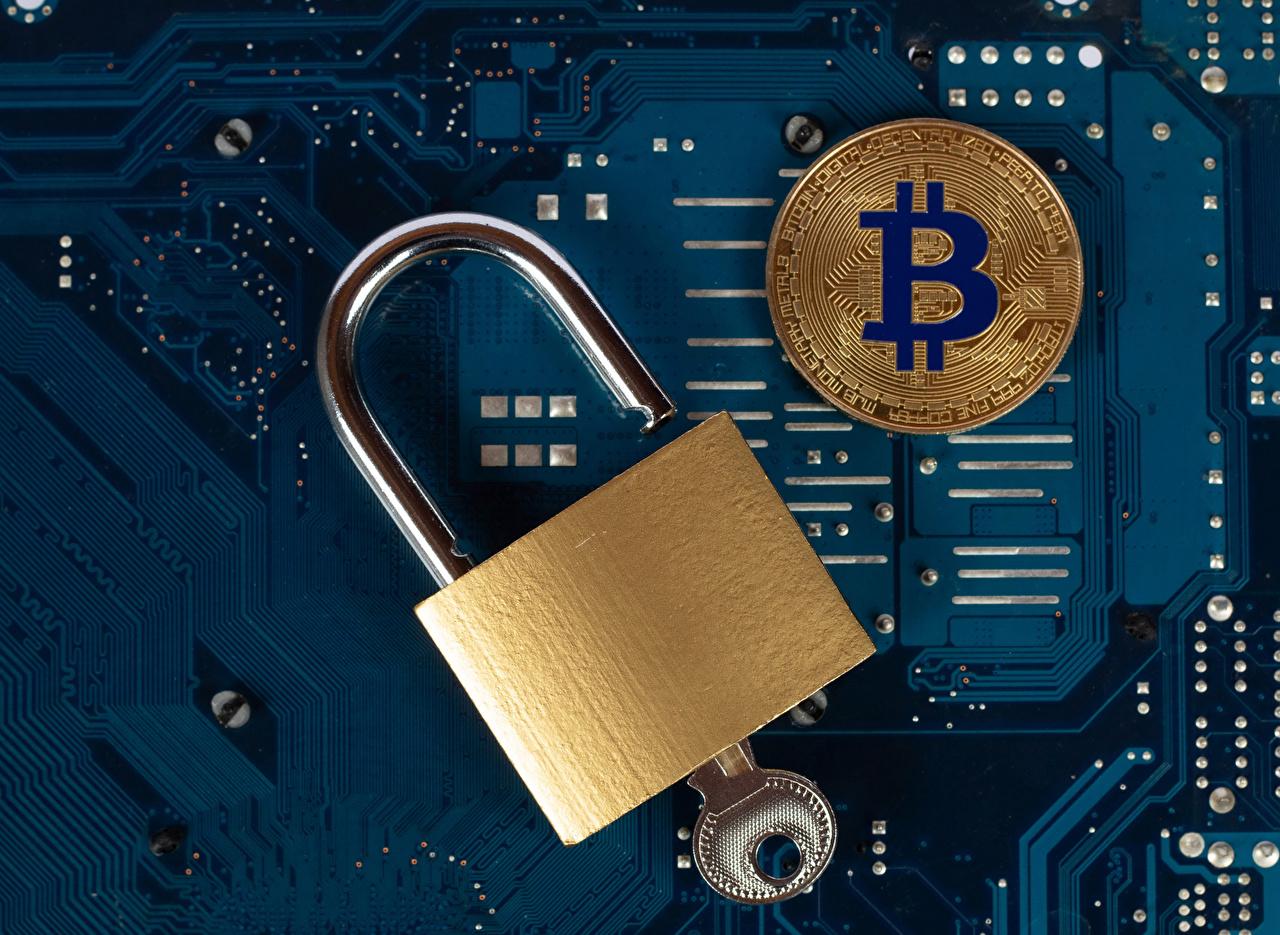 Desktop Wallpapers Coins Bitcoin padlocks Key lock Computers Padlock