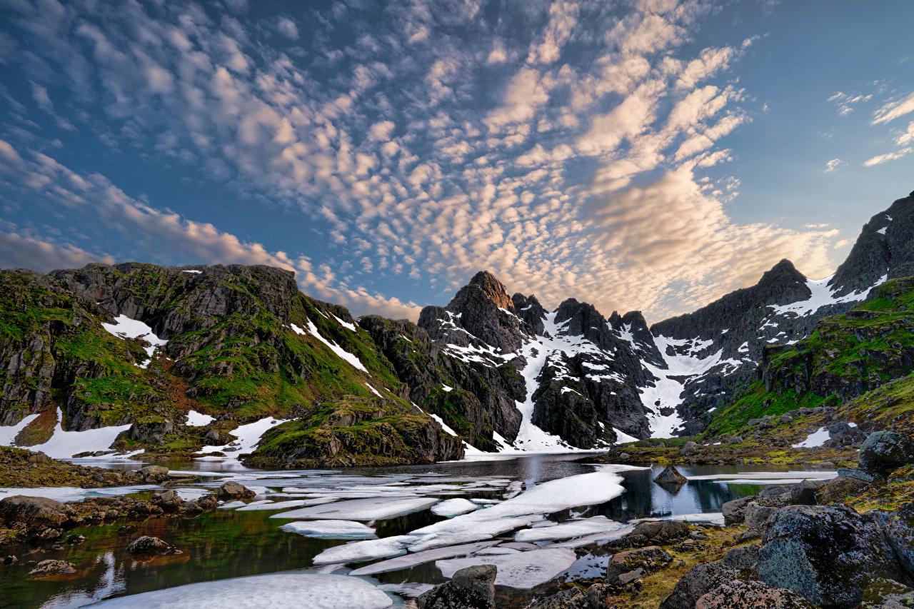 Fotos Lofoten Norwegen Trollfjord Fjord Natur Gebirge Wolke Berg