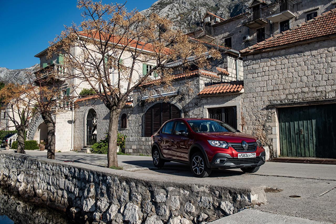Wallpaper Renault 2018-19 Logan Stepway City maroon automobile dark red burgundy Wine color auto Cars