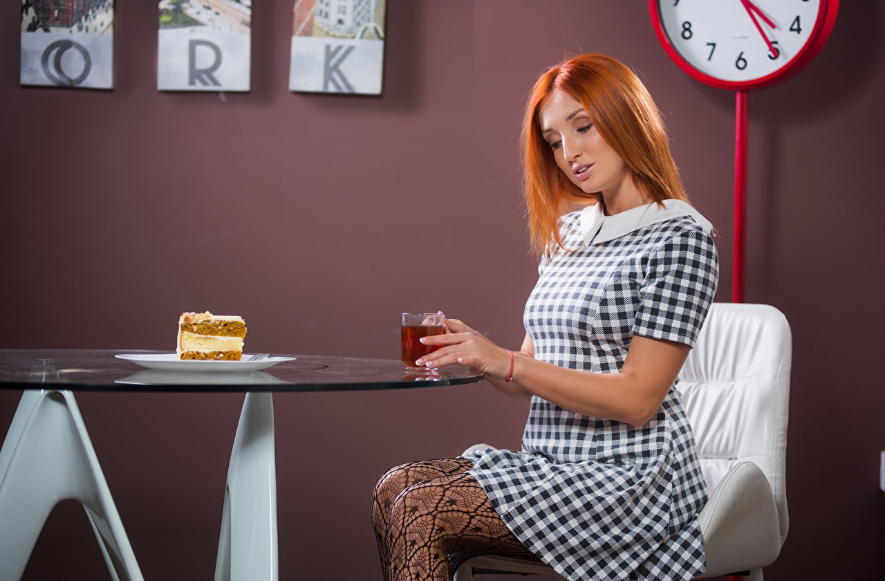 Photos Redhead girl Tea Girls Breakfast Table Sitting Cake gown sit Dress frock