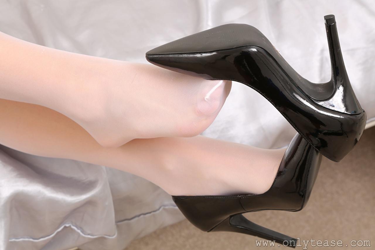 Wallpaper Pantyhose female Legs Closeup Stilettos Girls young woman high heels