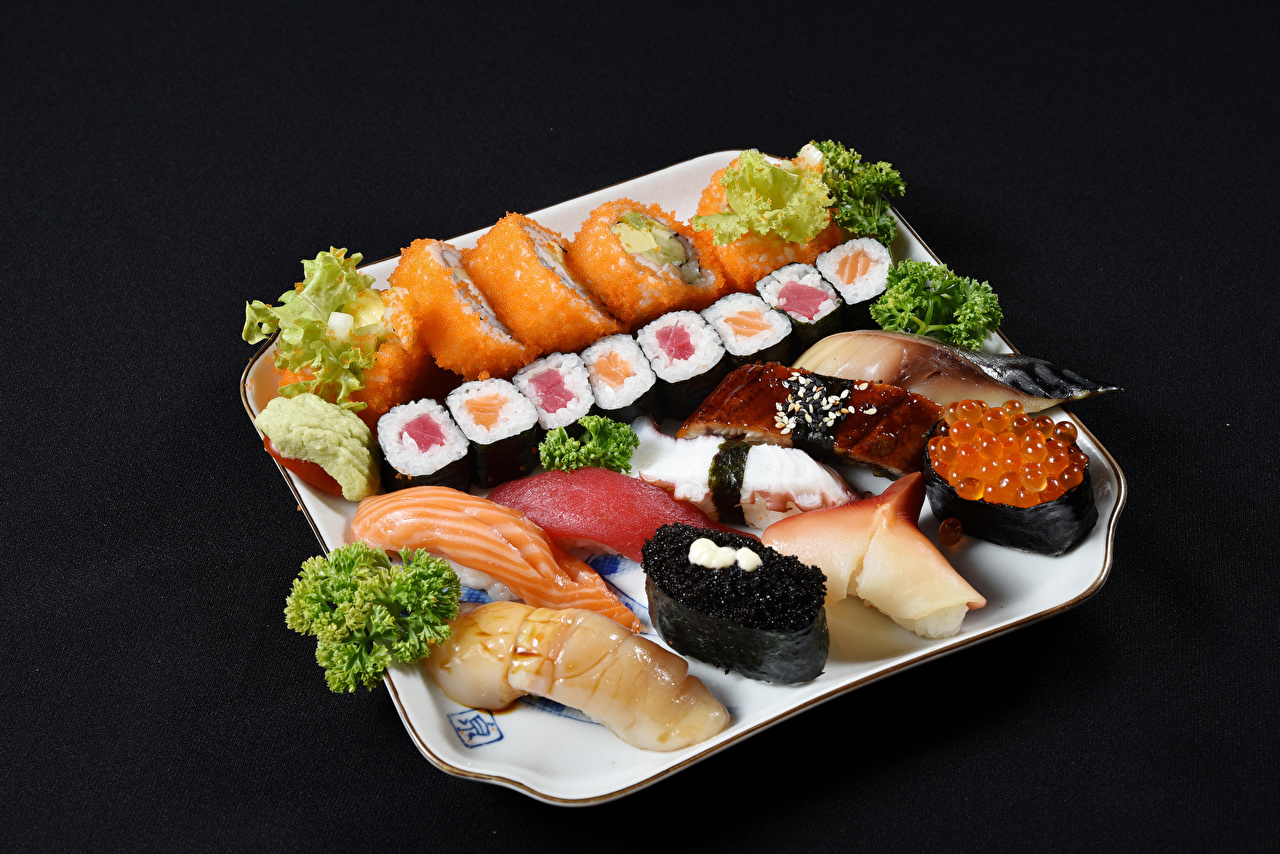 Photos Sushi Fish - Food Food Seafoods Black background