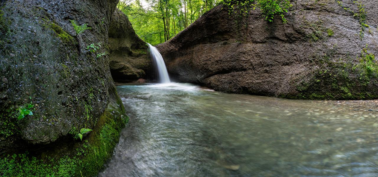 Pictures Switzerland Unterer Giessen Waterfall Cliff Nature Waterfalls Crag Rock