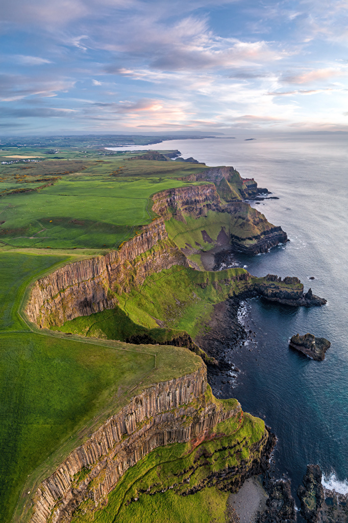 Pictures United Kingdom Antrim, Northern Ireland Crag Nature Coast Clouds  for Mobile phone Rock Cliff