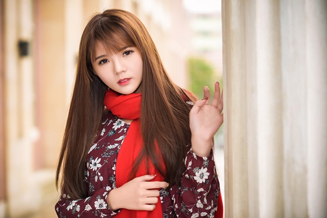 Desktop Hintergrundbilder Braune Haare Schal unscharfer Hintergrund junge Frauen Asiaten Hand Blick Braunhaarige Bokeh Mädchens junge frau Asiatische asiatisches Starren