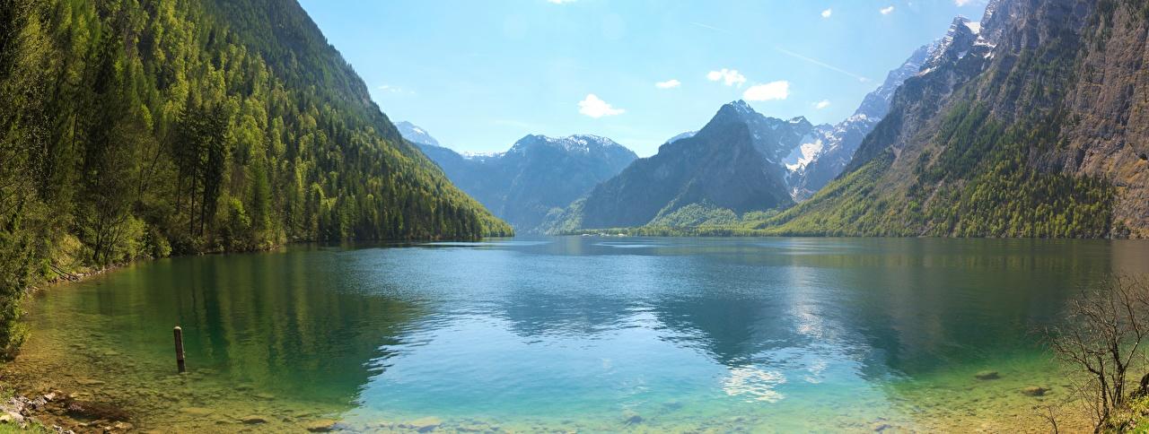 Afbeeldingen Beieren Alpen Duitsland Panorama berg Natuur Een meer Landschap van panoramische Bergen