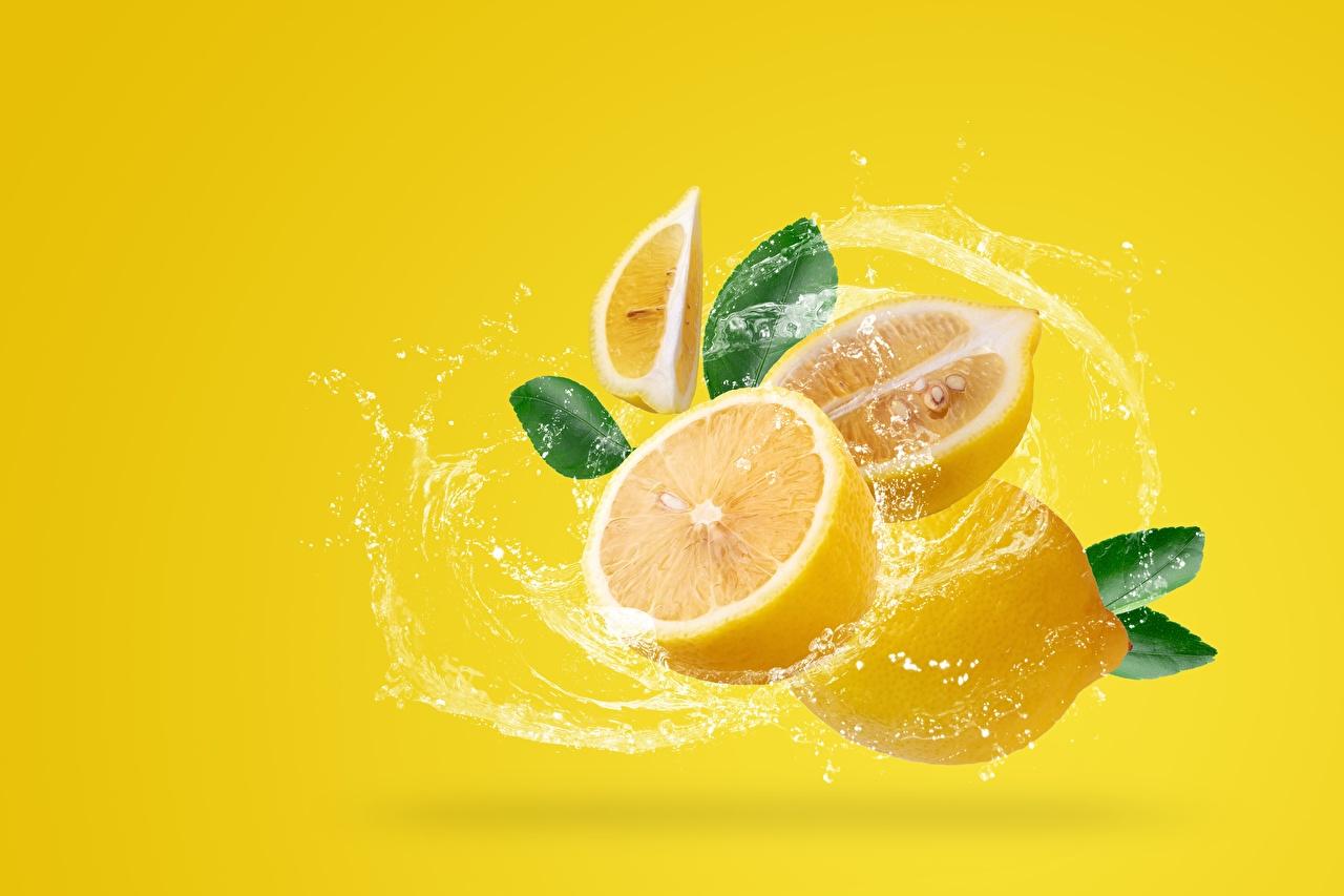 Images Lemons Water splash Food Colored background
