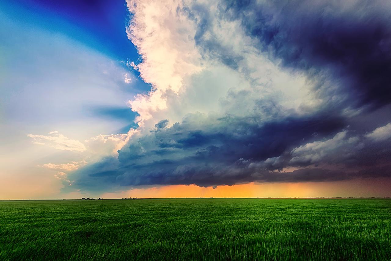 、空、雲、草、雷雲、地平線、自然、