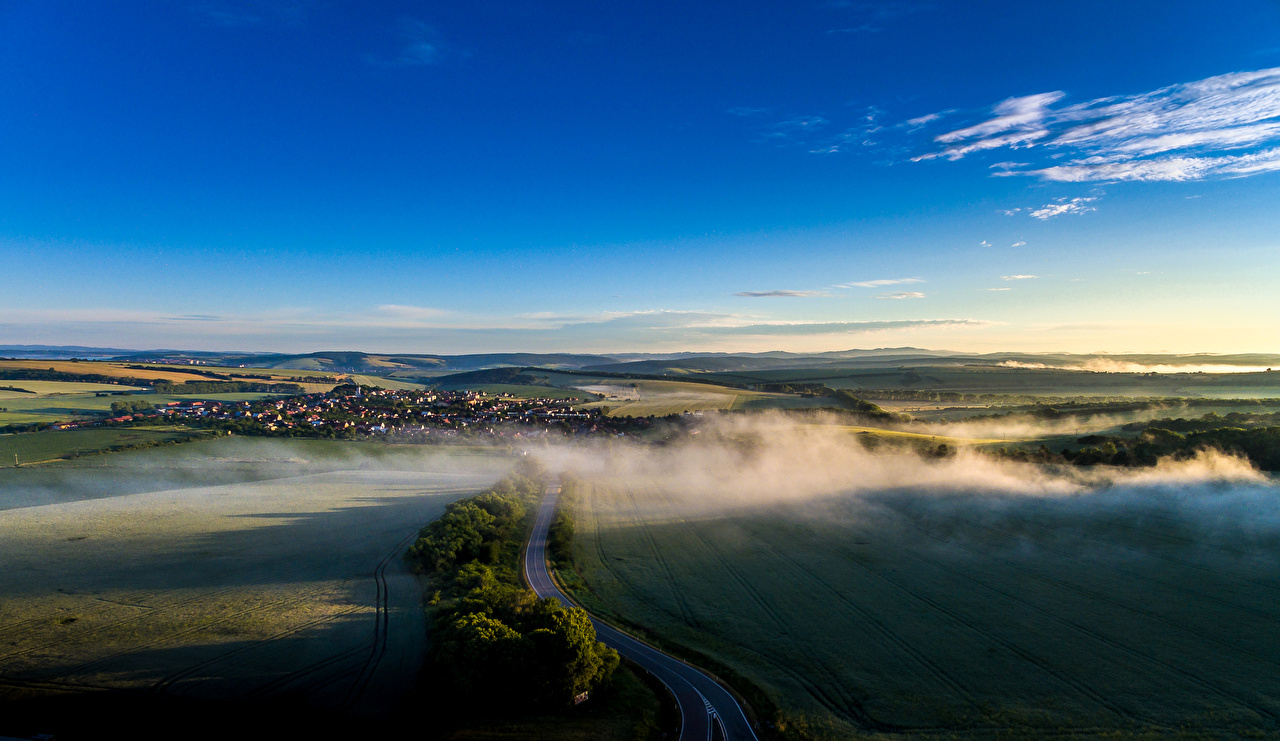 Images Czech Republic Sucha Loz Fog Nature Sky Roads Fields Scenery landscape photography