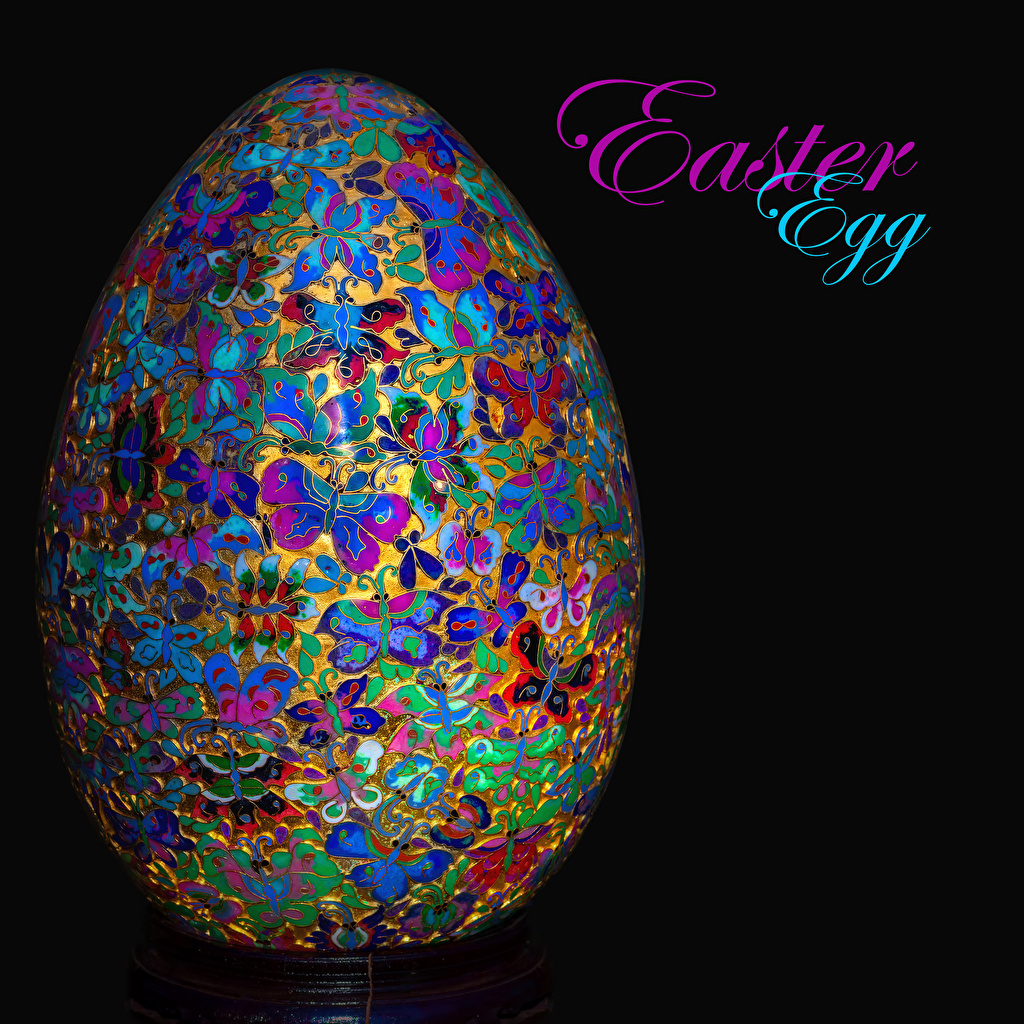 Pictures Easter English egg lettering Black background Design Eggs text Word - Lettering