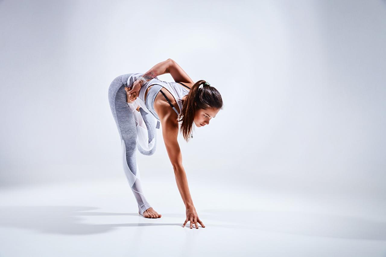 Fotos von Braunhaarige Dehnübungen posiert Fitness junge Frauen Bein Hand Braune Haare Dehnübung Pose Mädchens junge frau
