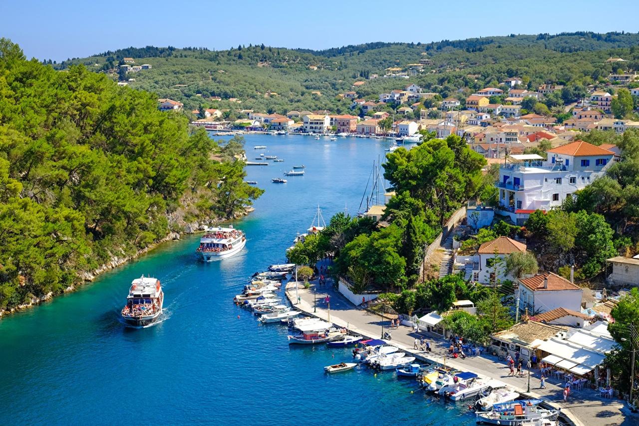 Photo Greece island Corfu Island Riverboat Pier Cities Berth Marinas