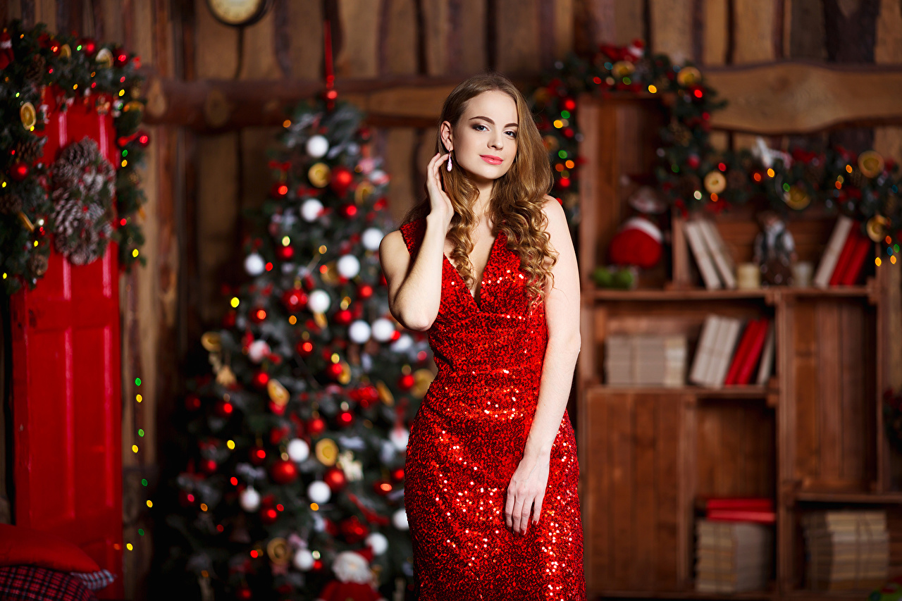 Kleid Tannenbaum.Hintergrundbilder Neujahr Braune Haare Tannenbaum Junge Frauen Kleid