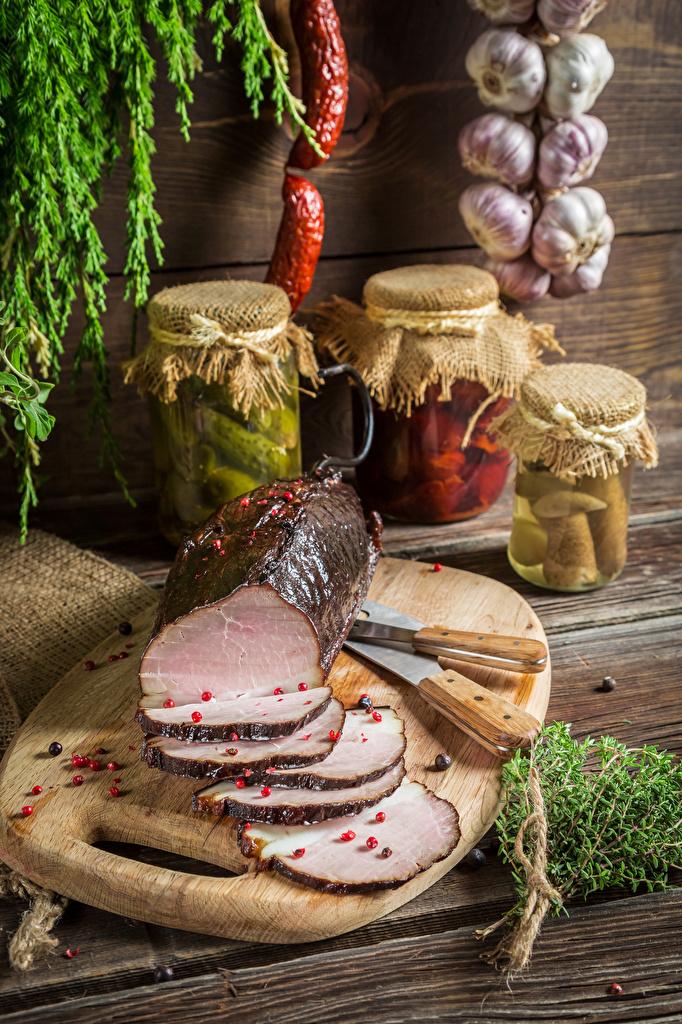 Foto Schinken Einweckglas Geschnitten Lebensmittel Schneidebrett Weckglas