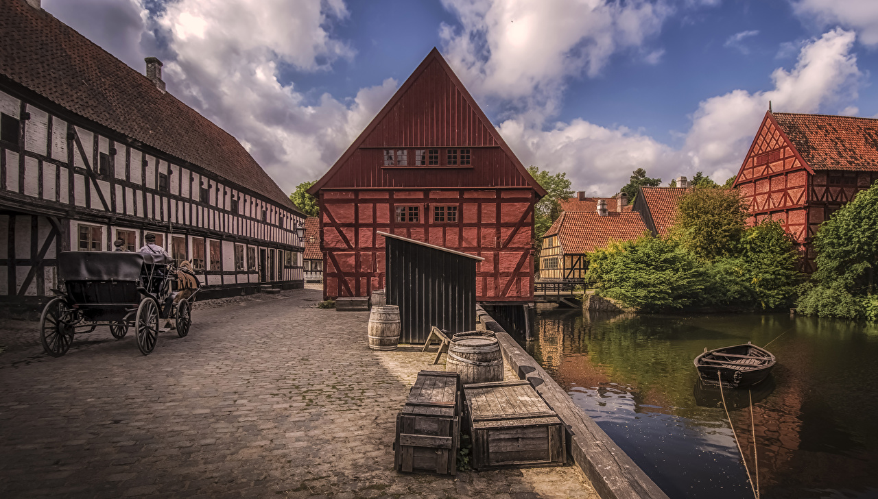 Pictures Denmark Aarhus Boats Rivers Houses Cities river Building
