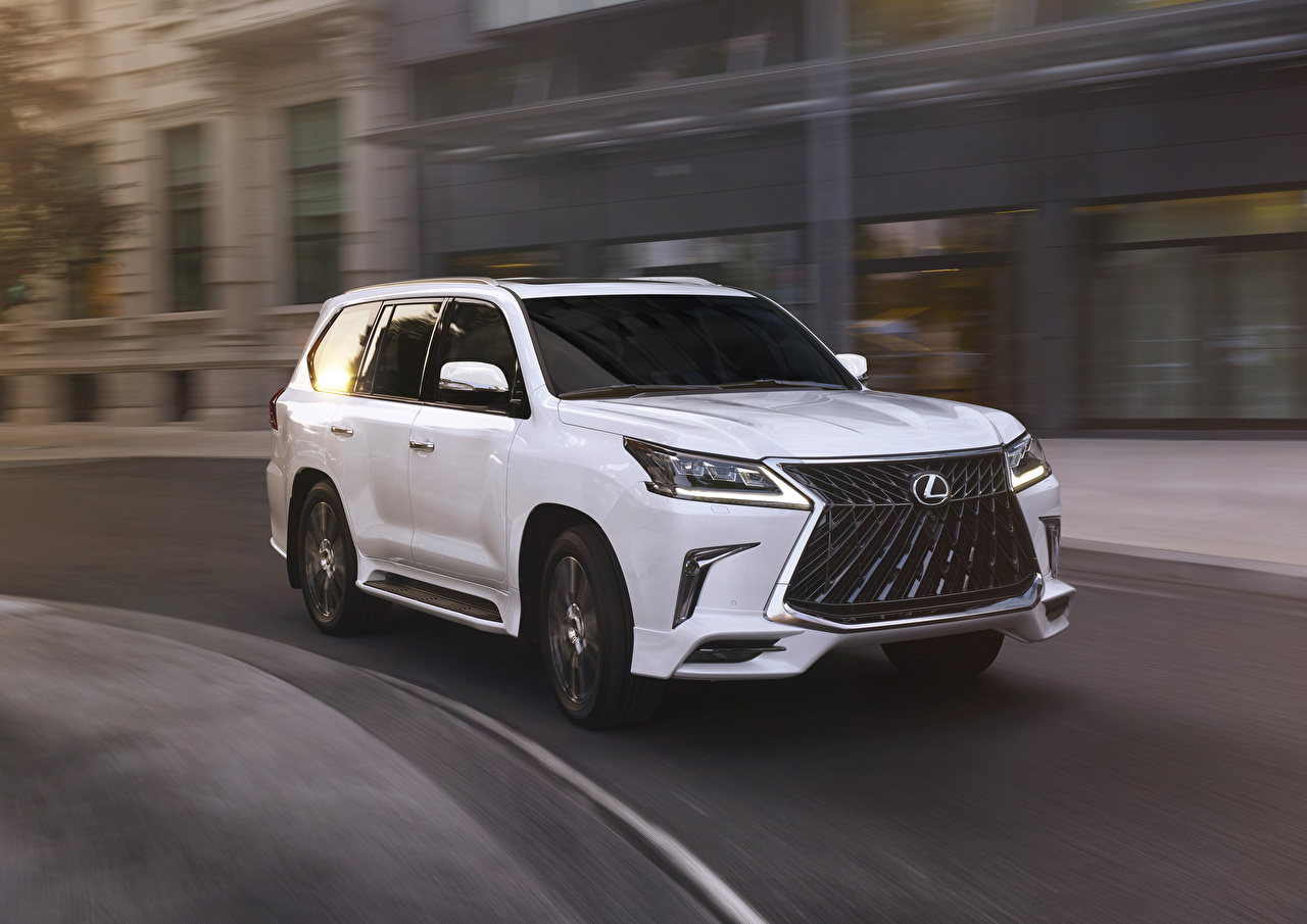 Photo Lexus 2020 LX 570 Sport Package White moving Cars Metallic Motion riding driving at speed auto automobile