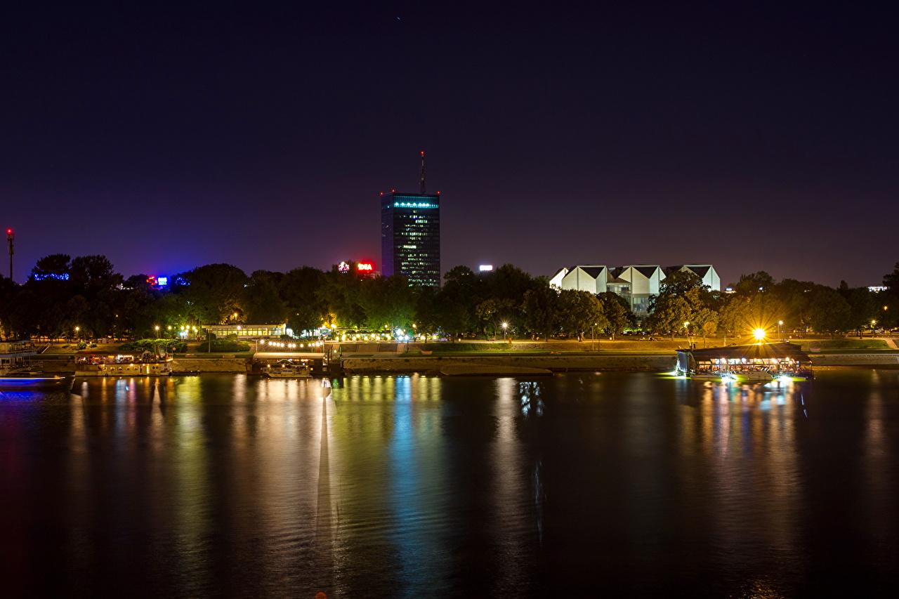 Image Cities Belgrade Coast river Serbia Night Rivers night time