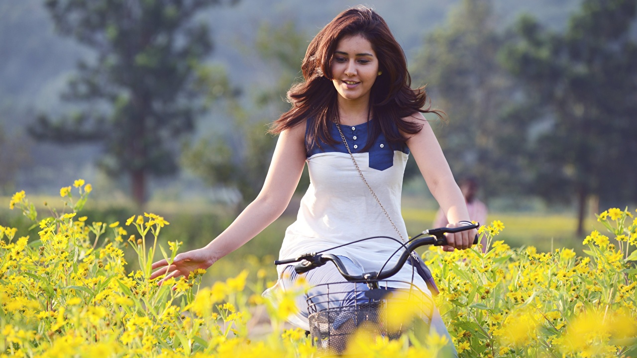 Desktop Wallpapers Indian Brown haired Rashi Khanna Bicycle young woman Hands Celebrities bike bicycles Girls female