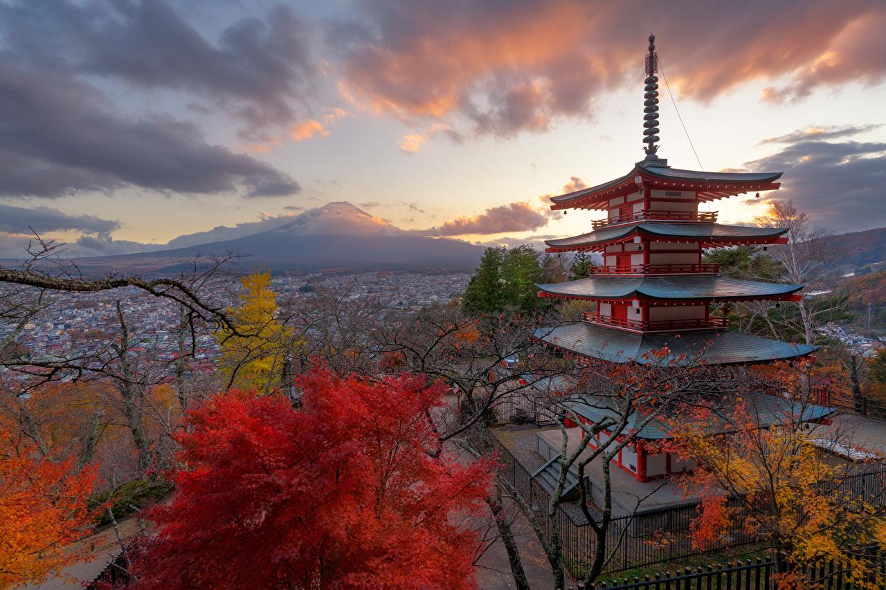 Wallpaper Mount Fuji Japan Nature Autumn Mountains Pagodas mountain