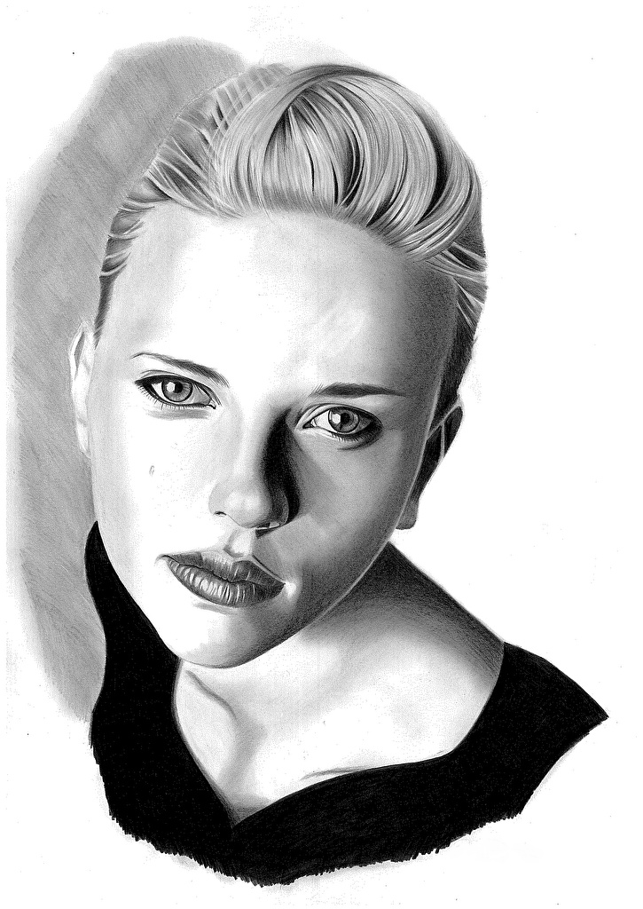 Wallpaper Scarlett Johansson young woman Black and white Head Glance Celebrities Painting Art White background  for Mobile phone Girls female Staring