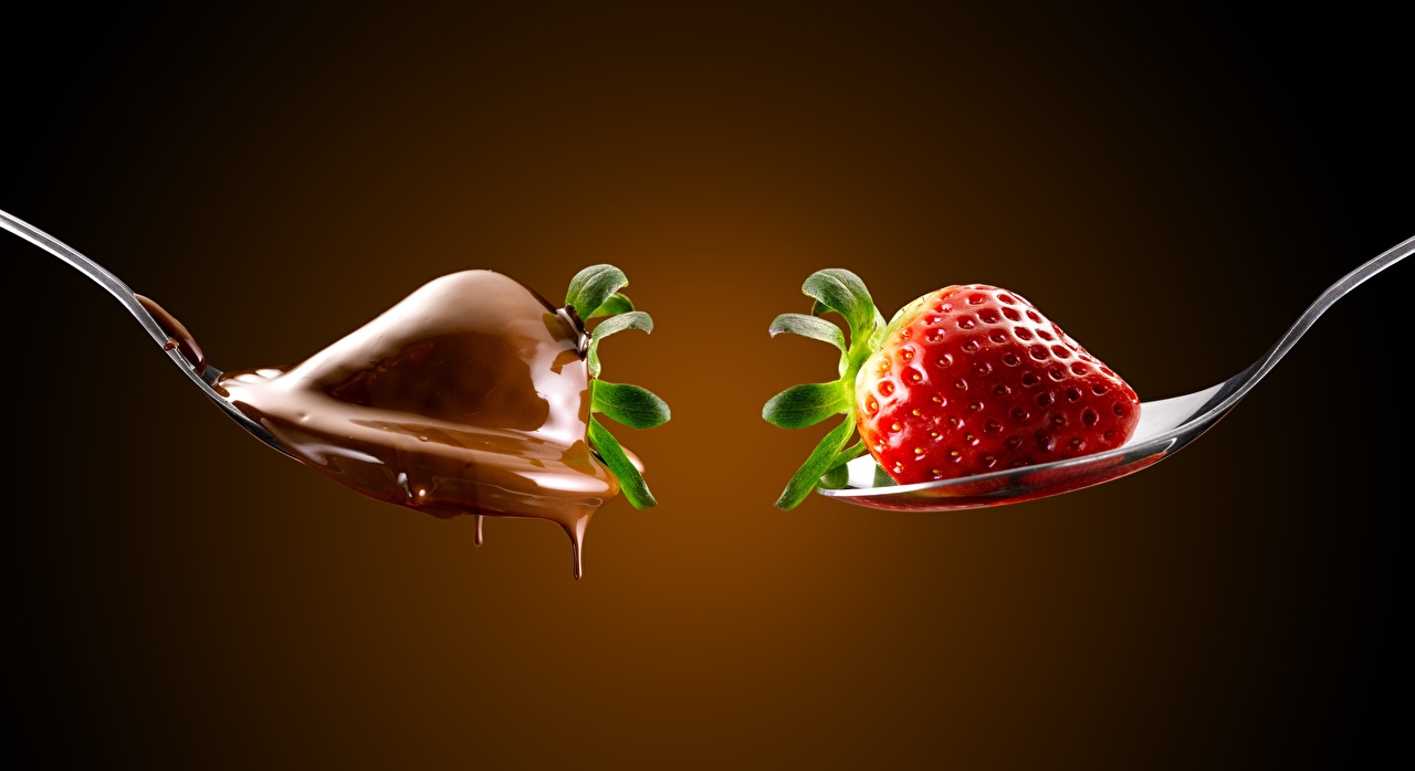 Photo Chocolate 2 Strawberry Food Spoon Berry Colored background Two