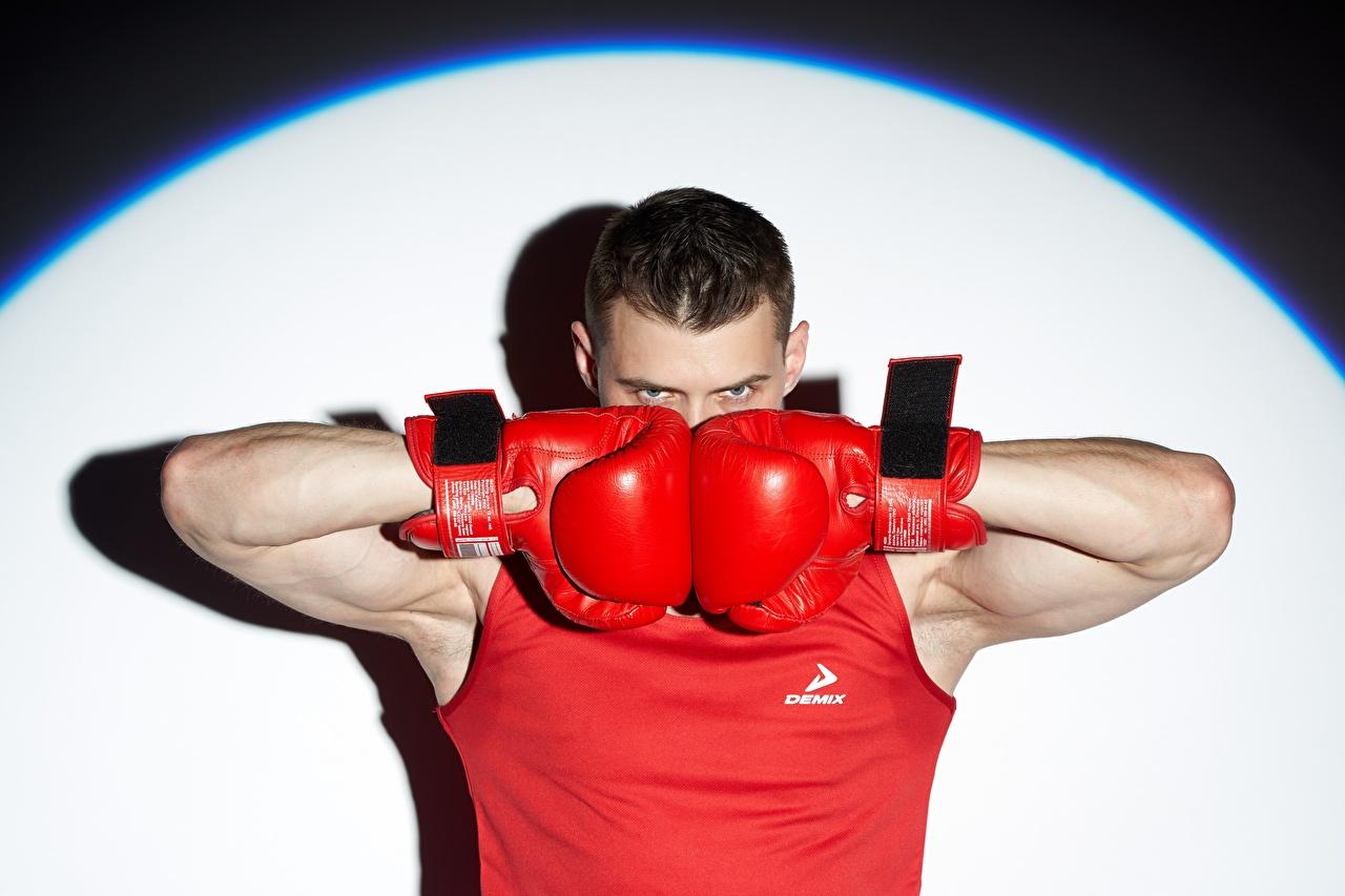 Desktop Hintergrundbilder Boxer Mann Handschuh sportliches Boxen Hand Blick Sport Starren