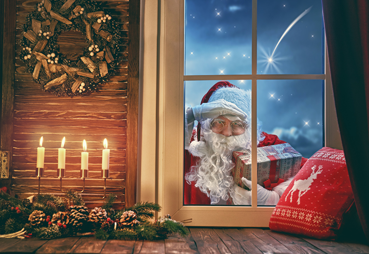 Picture Christmas Santa Claus Gifts Window Candles Pine cone New year present Conifer cone