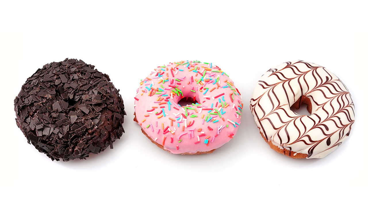 Images Chocolate Doughnut Food Three 3 Pastry White background Donuts baking