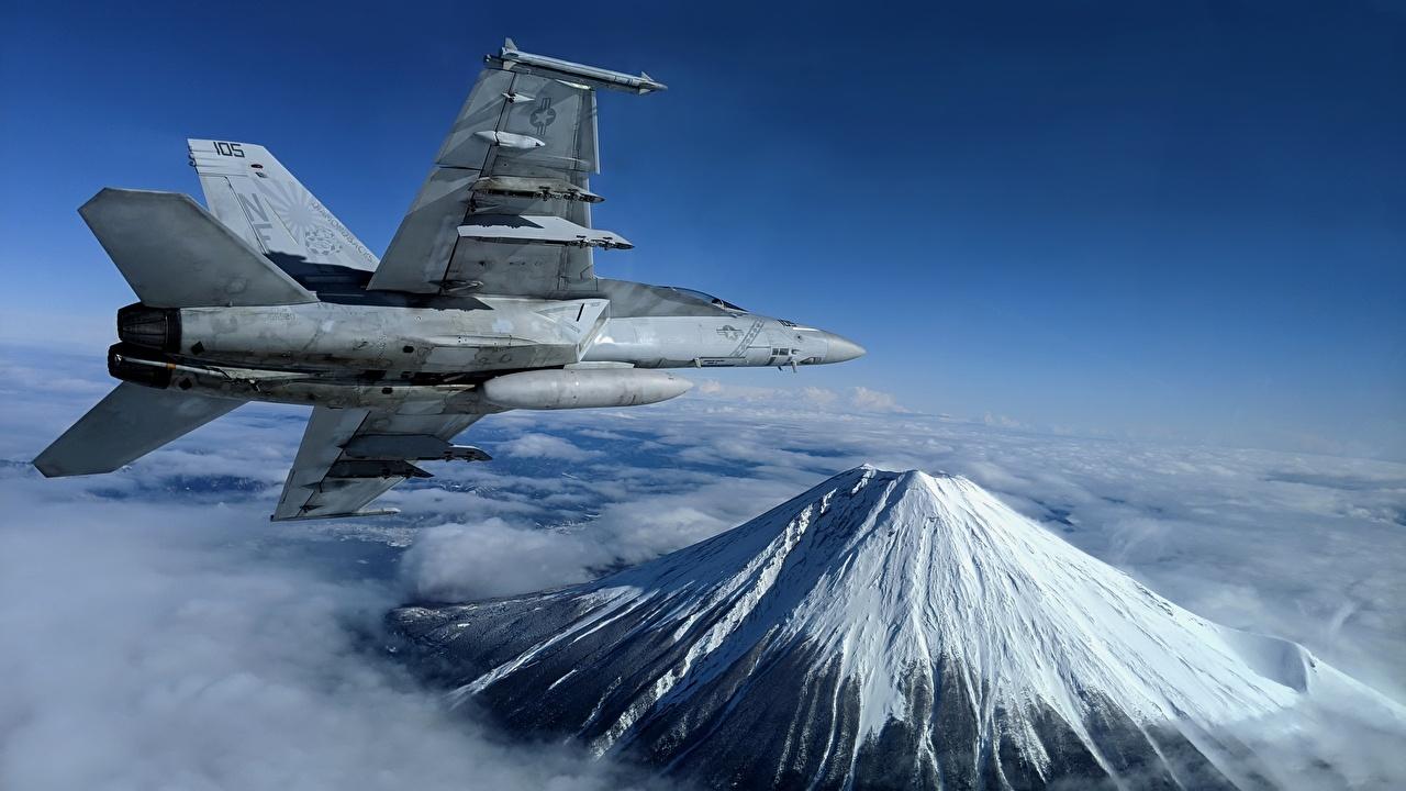 Fotos Jagdflugzeug Flugzeuge Super Hornet, F/A-18F, U.S. 7th Fleet Berg Flug Luftfahrt Gebirge
