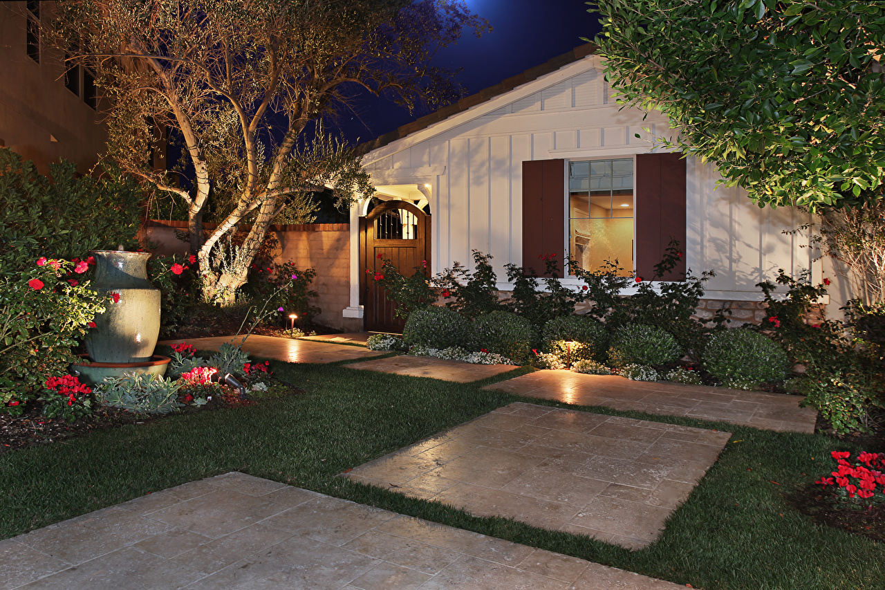 Picture Mansion Lawn Evening Houses Cities Design Building