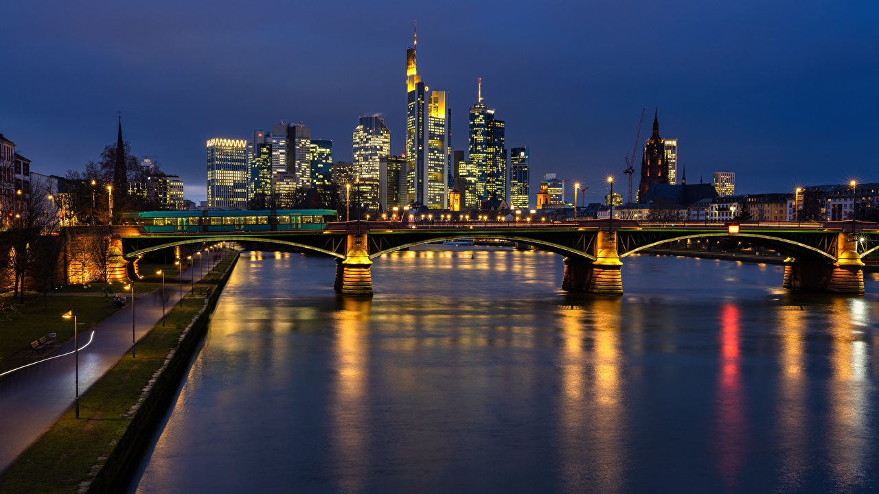 Photo Frankfurt Germany Main river bridge Night Rivers Cities Bridges night time
