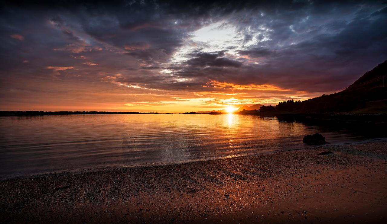 Bilder von Lofoten Norwegen Natur Sonnenaufgänge und Sonnenuntergänge Küste Morgendämmerung und Sonnenuntergang