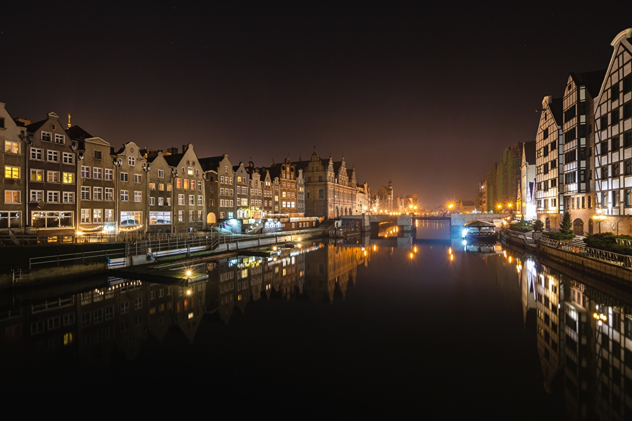 Pictures Gdańsk Poland Canal Bridges Riverboat night time Street lights Houses Cities bridge Night Building