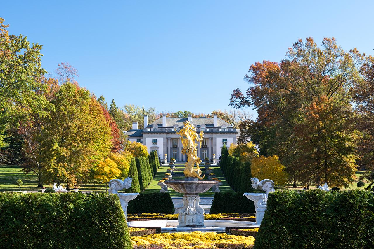 、アメリカ合衆国、ガーデン、噴水、彫刻、秋、Nemours Mansion and Gardens、木、低木、庭園、自然