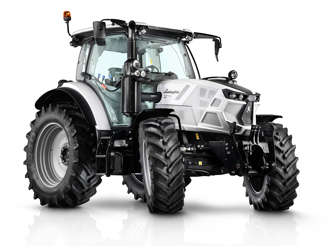Photo tractors Lamborghini Spark 130 VRT, 2019 White background Tractor