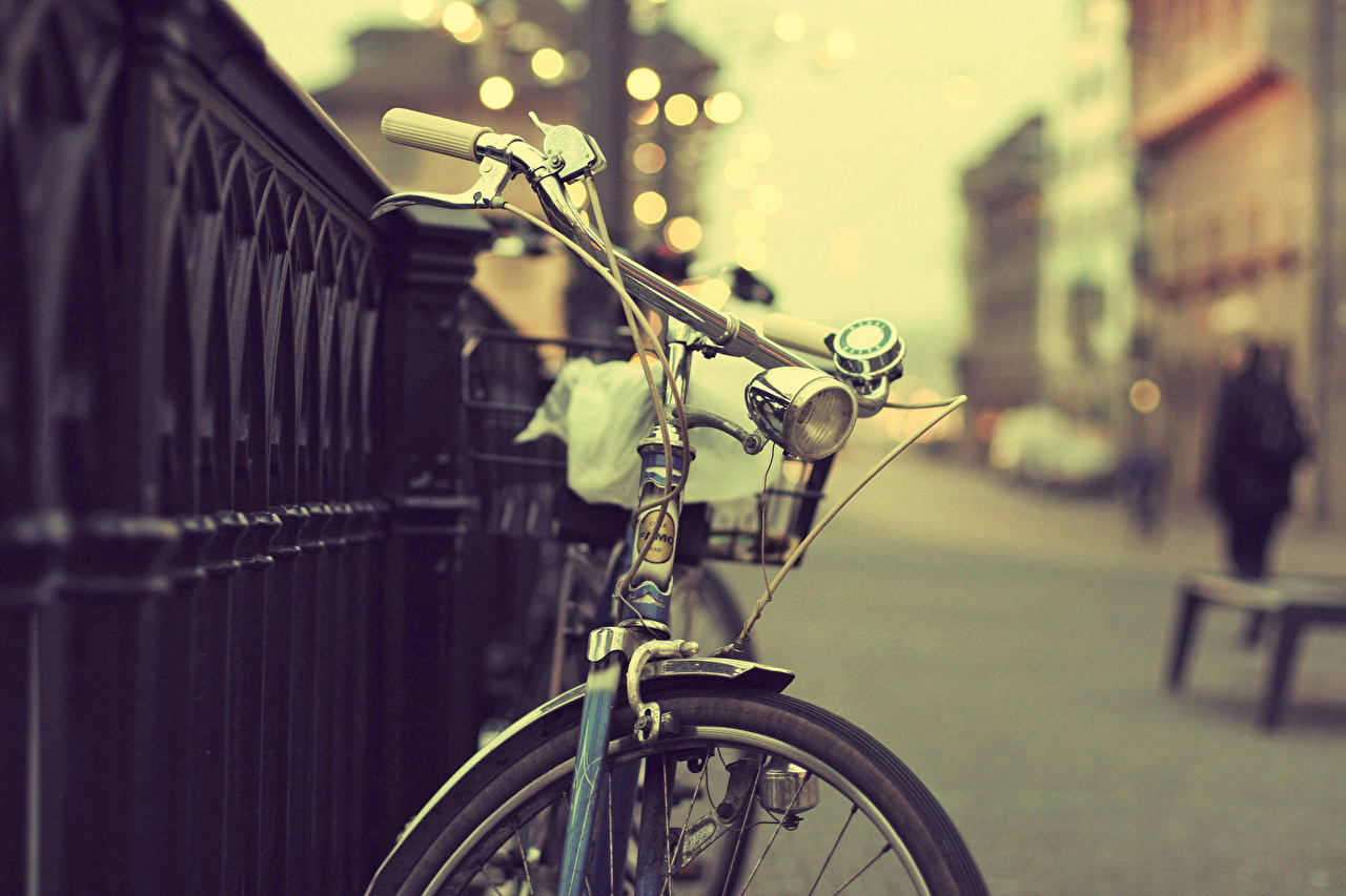 Picture Bicycle handlebar bike Fence Street Cities Bicycle bicycles