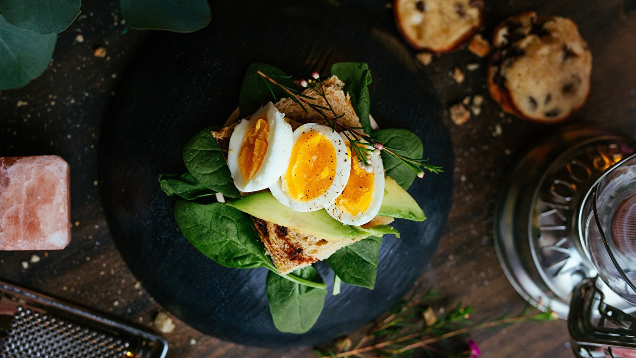 Photo Eggs Basil Breakfast Butterbrot Food egg