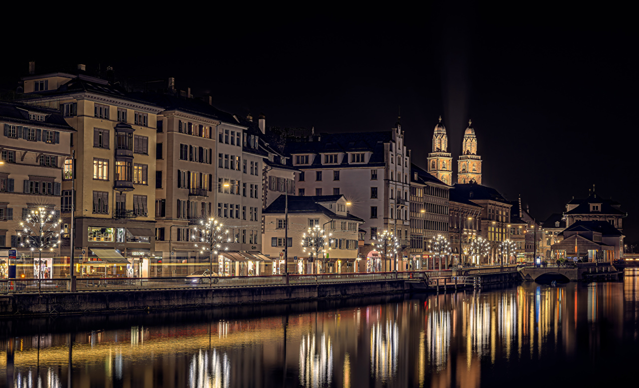 Picture Zurich New year Switzerland Street Night Rivers Fairy lights Houses Cities Christmas river night time Building