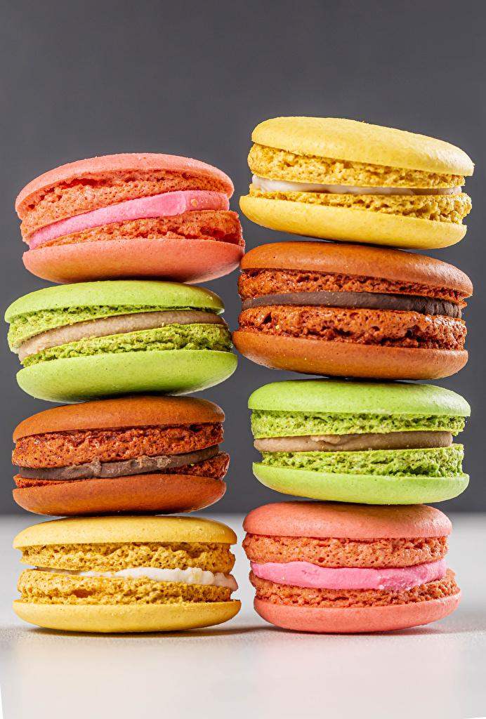 Fotos von macarons Mehrfarbige Lebensmittel Großansicht  für Handy Macaron Bunte das Essen hautnah Nahaufnahme