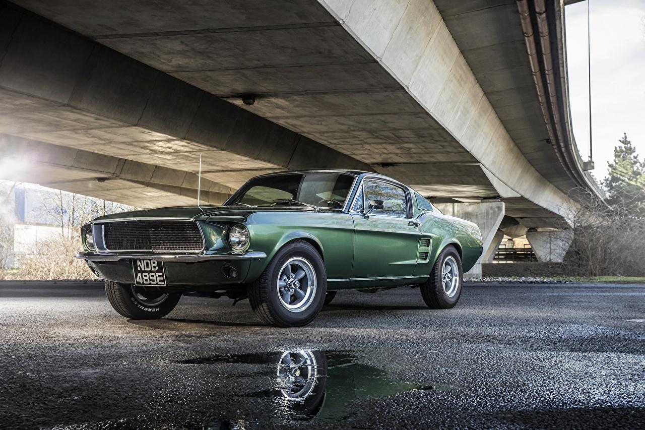 Photos Ford Mustang 1968 GT 390 Bullitt Green auto Cars automobile