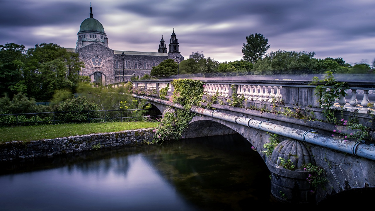 Image Ireland Galway Cathedral Bridges Rivers Cities bridge river