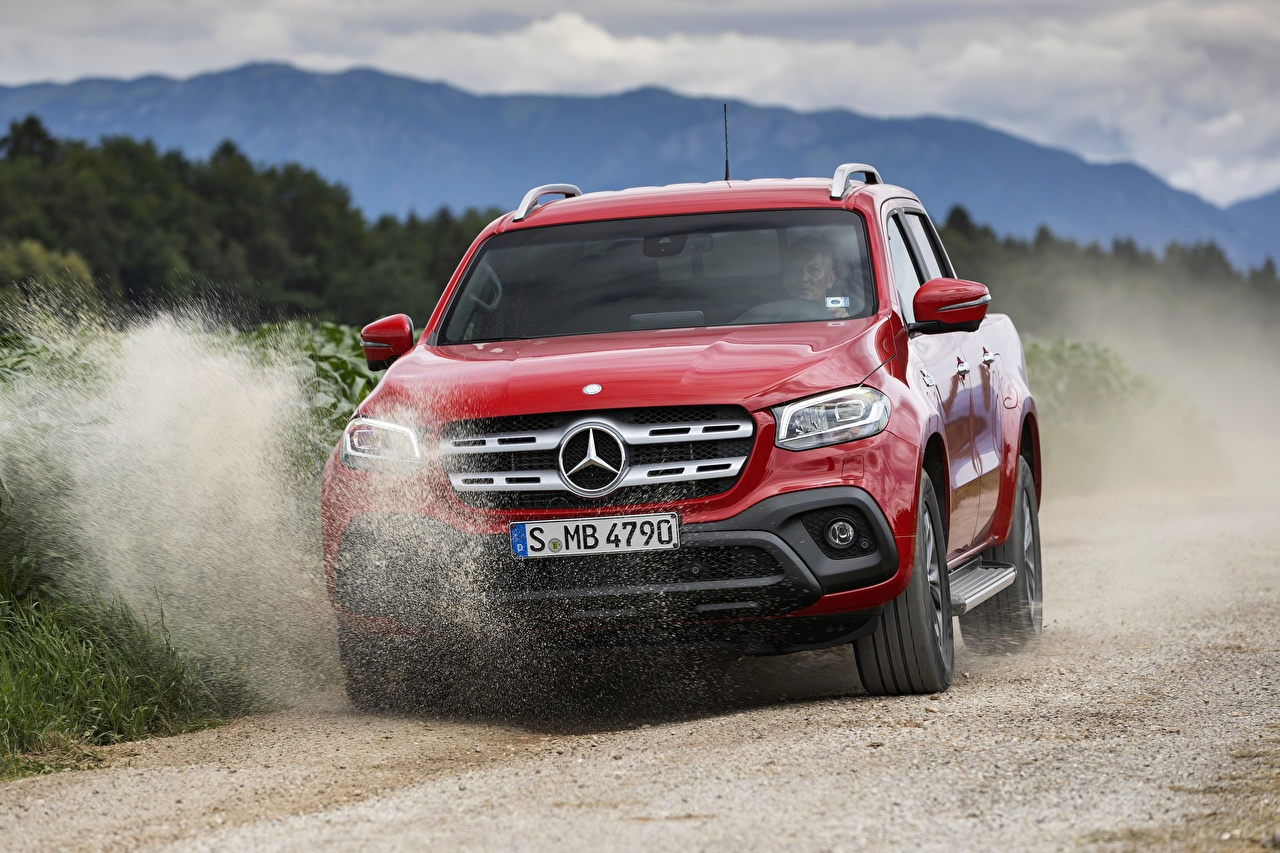 Pictures Mercedes-Benz 2017 X-Class Pickup Red Cars Front auto automobile