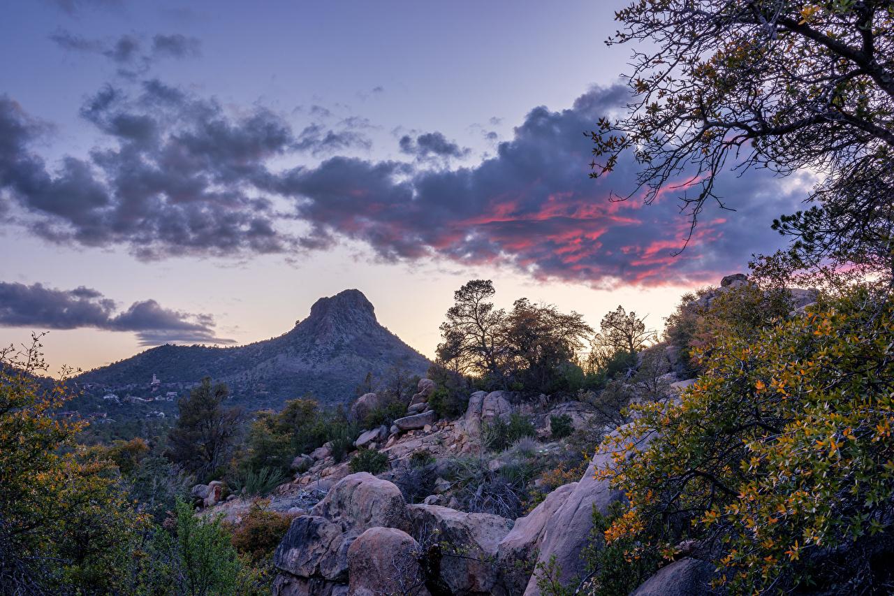 Desktop Wallpapers USA Prescott, Arizona Rock Nature Mountains Sky stone Trees Clouds Crag Cliff mountain Stones