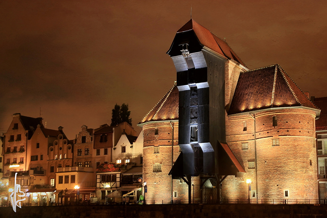 Pictures Poland HDRI Night Cities Building HDR night time Houses
