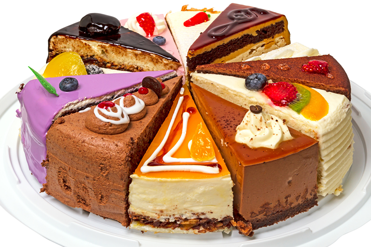 Bilder Torte Stück Beere Lebensmittel Törtchen Süßigkeiten Weißer hintergrund Süßware