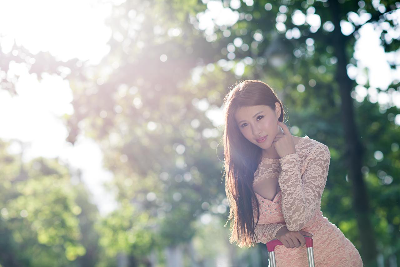 Foto Braune Haare unscharfer Hintergrund junge frau Asiatische Hand Starren Braunhaarige Bokeh Mädchens junge Frauen Asiaten asiatisches Blick